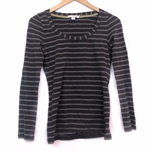 BODEN Gray Striped Scoop Neck Cotton Long Sleeve